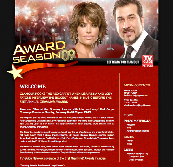 TV Guide Network — Award Season '09 Press Kit